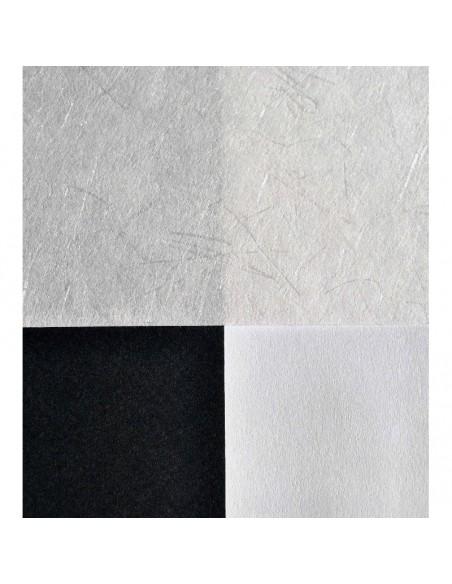 Papier japoński Tenryu na białym i czarnym tle