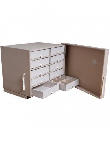 Pudło archiwalne z szufladkami (szafka)