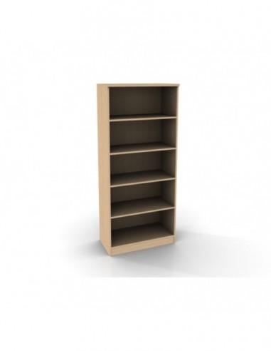Regał biblioteczny otwarty, 4 półki o grubości 18 mm, plecy miękkie