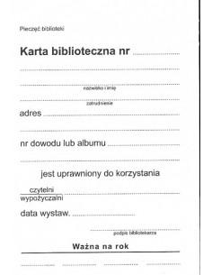 Karta biblioteczna B-191