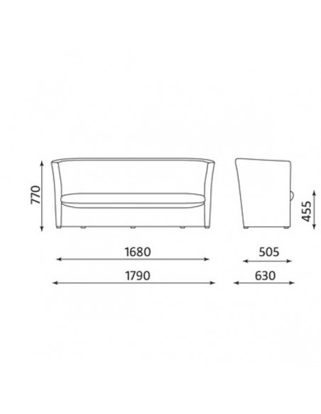 Sofa biurowa TrioClub - wymiary