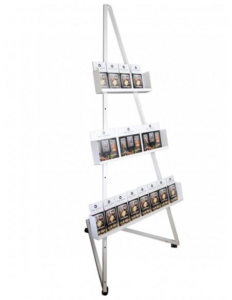 Sztaluga z półkami ekspozycyjnymi