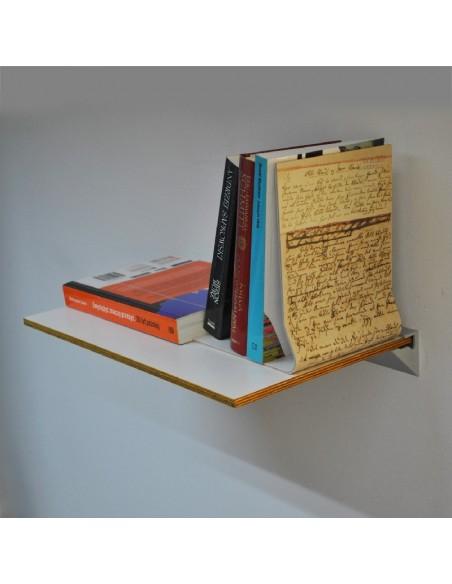 Półka na książki biała z miodową krawędzią
